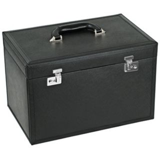 Queens Court Extra Large Noir Leather Jewelry Box   #V5583