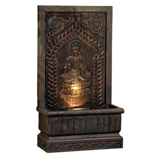 Sitting Buddha Panel Natural Finish Fountain   #26629
