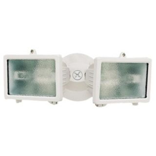 "White Finish 12 1/4"" Wide Twin Halogen Security Light   #K6535"
