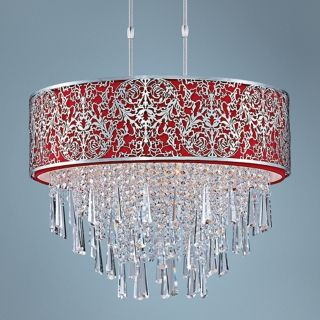 "Maxim Rapture 21"" Wide Red and Satin Nickel Pendant Light   #V3321"