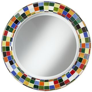 "Checkered Colors 33 1/4"" High Mosaic Round Wall Mirror   #W8596"