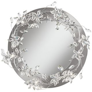 """Crystal Petal  24 1/2"""" Wide Lighted Wall Mirror   #W0958"""