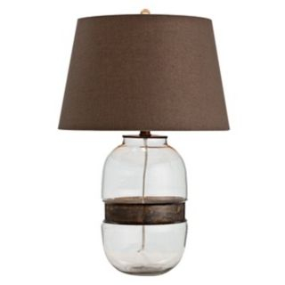 Garrison Vintage Brass and Glass Table Lamp   #M6070