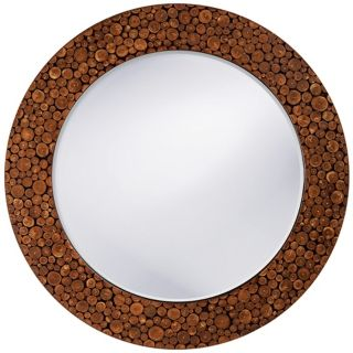 "Brown Lacquer Acacia Wood 27"" Wide Wall Mirror   #H6465"