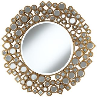 "Jeweled Shapes 35 1/4"" Wide Antique Gold Wall Mirror   #W3841"