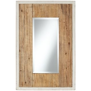 "Distressed White and Natural Wood 36"" High Wall Mirror   #X5875"