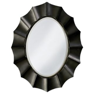 "Black Lacquer Finish Sun Shadow Oval 40"" High Wall Mirror   #H5985"