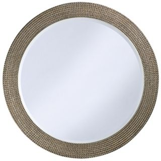 Silver and Gold Beaded 42 Wide Round Wall Mirror   #H5470