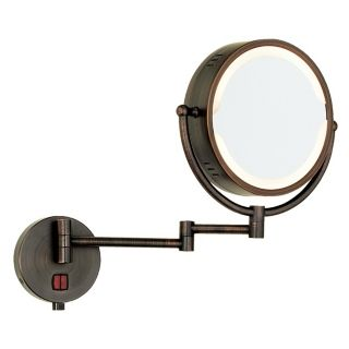 Oil Rubbed Bronze Swing Arm Plug In Lighted Vanity Mirror   #90372