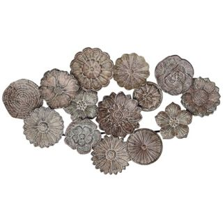 "Matte Bronze Metal 35"" Wide Flower Wall Art   #U2157"