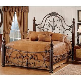 Bonaire Wood and Brushed Bronze Finish Bed   #M6276