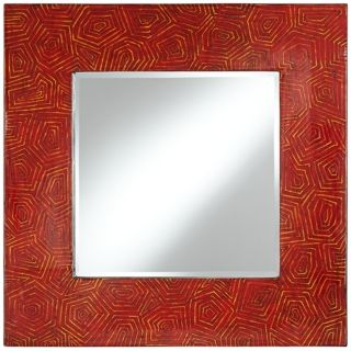 "Sonia Textured Red Lacquer 39"" Square Wall Mirror   #V5989"