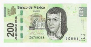 Mexico 200 Pesos Banknote 2009 UNC Juana de Asbaje Series V