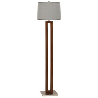 Blue and Brown Floral Walnut Rectangle Floor Lamp   #T1391 T6528
