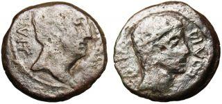 Octavian Divus Julius Caesar AE Dupondius Busts Italian Mint 38 30mm