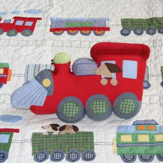 New Pottery Barn Kids Train Junction Dog Puppy Shaped Accent Pillow