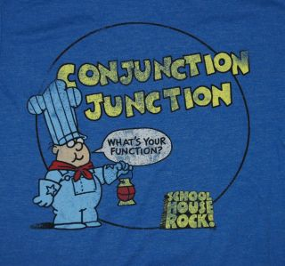Schoolhouse Rock Blue Conjunction Junction Classic Cartoon Soft T