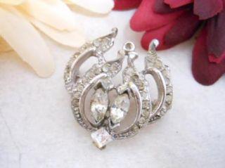Vintage Silver Tone Marquis Princess Round Rhinestone Brooch Pin M1363