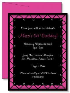 12 Custom Personalized Girls Jump Pink Trampoline Birthday Party