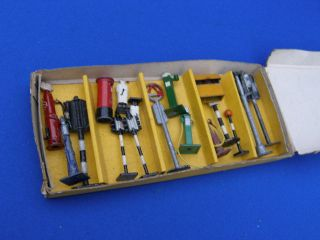 Boxed Early Dinky Toys Petrol Gas Station Pumps etc Large Set Boxed