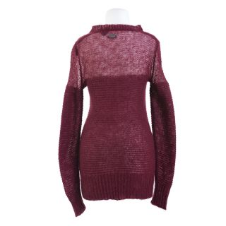 Just Cavalli Burgundy Wool Mohair See Through Sweater US s EU 40