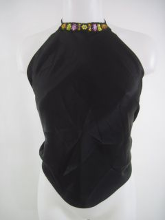 Julie Brown Black Silk Halter Top Shirt Sz S