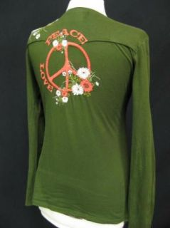 JWLA Dragons Peace Sign Love Embroidered Long Sleeve Womens Top Shirt