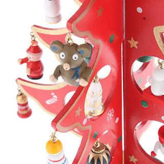 USD $ 15.89   Wooden Red 3D Christmas Tree Santa Claus Bell Standing