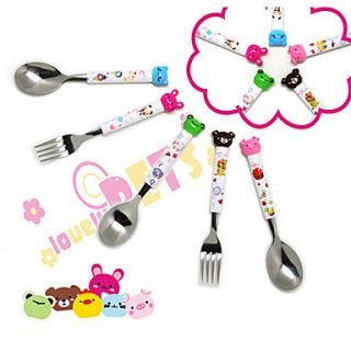 Cartoon Handle Stainless Steel Fork Spoon