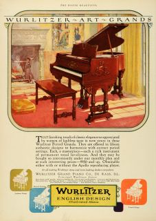 1926 Ad Wurlitzer Grand Piano de Kalb Illinois Musical Instrument