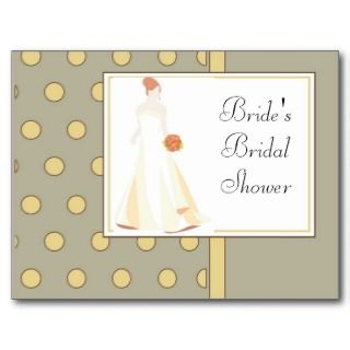 Bridal Shower Invitation Yellow Polka Dot Postcards