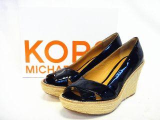 Kors Michael Kors Womens Shoes Upland Black Patent Wedges Sandals US