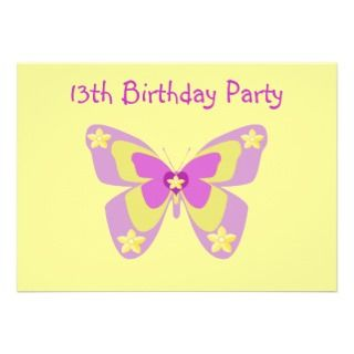 Butterfly 13th Birthday Party Invitation