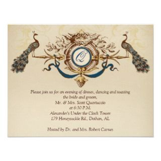 Vintage Peacock Reception Card Horizontal b Custom Invites