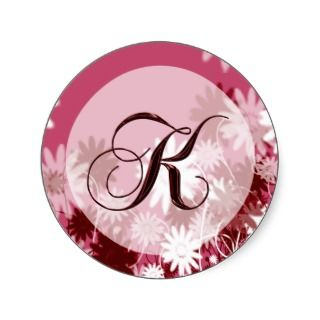 Whimsical Floral Wedding Monogram K Envelope Seal Round Sticker