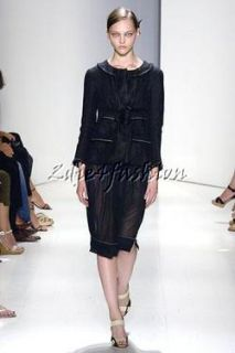 2295 New Donna Karan White Top Stitching Black Linen High Waist