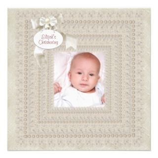 Pearl Ivory Lace Baby Boy Girl Photo Christening Custom Announcement