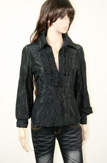 Karen Millen 14 Black Sparkly Long Sleeve Blouse Top L552