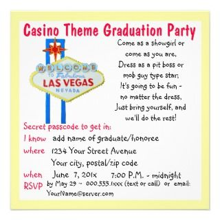 Casino Theme Vegas Style Graduation Party Custom Announcements