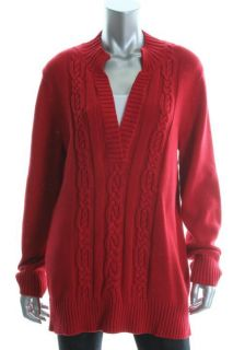Karen Scott New Red Ribbed Trim 2 in 1 Mock Neck Long Sleeve Pullover