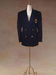 Ralph Lauren Black Wool Crested Boyfriend Blazer 4 M