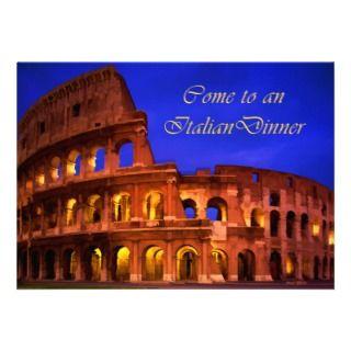 Rome Colosseum at Night Italian Dinner Custom Invitations