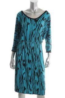 Karen Kane Blue Animal Printed 3 4 Sleeves Scoop Neck Casual Dress L