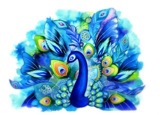 Full Bloom   Watercolor Fantasy Painting   Feather Bird Art Blue Green