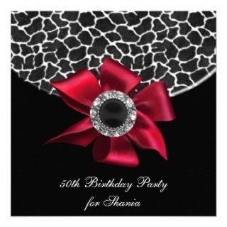 50th Birthday Party Black White Giraffe Jewel Red Personalized