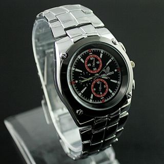 Mens Mens Gentlemen Stainless Steel Quartz Wrist Watch KAM