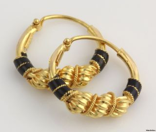 High Karat Elegant Hoop Earrings 21K Yellow Gold Enameled Twist 3