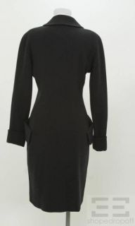 Karl Lagerfeld Navy Blue Wool Double Breasted Coat Size 38