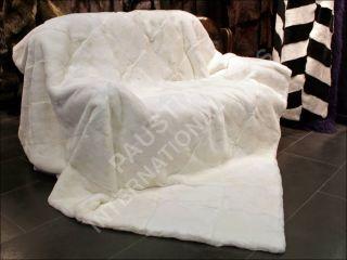 590 Double Rex Rabbit Fur Blanket Natural White Real Fur Rug Genuine