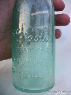 Antique Blue Green Glass Coca Cola Coke Bottle Kankakee IL